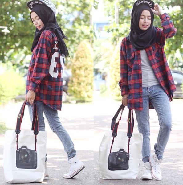 Padu Padan Celana Jeans Wanita Berhijab Fashion Area