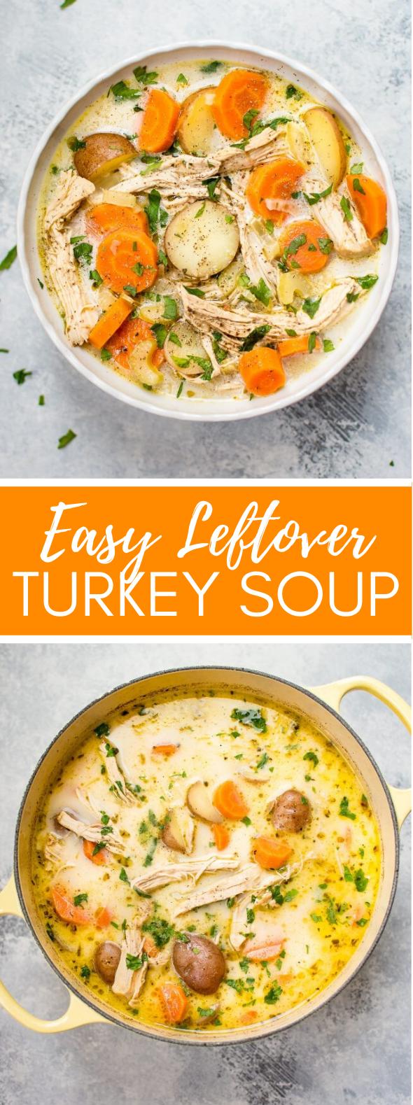 Easy Leftover Turkey Soup Recipe #lunch #veggies