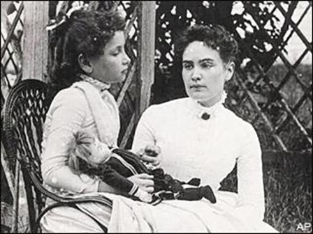 Image: Photograph of Helen Keller at age eight with her tutor Anne Sullivan on vacation in Brewster, Cape Cod, Massachusetts | July 1888 | New England Historic Genealogical Society