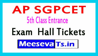 AP SGPCET 5th Class Entrance Exam HallTickets 2017