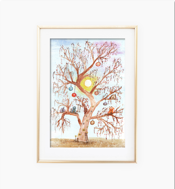 Enchanted Tree Watercolor Painting
