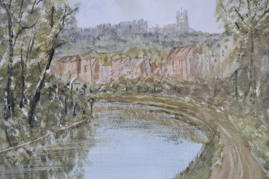 "Lancaster castle and priory from the canal at Newton estate. Watercolour on 15"" x 11"" Fabriano watercolour paper 2016"