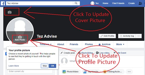 Update your profile piture, cover background and bio