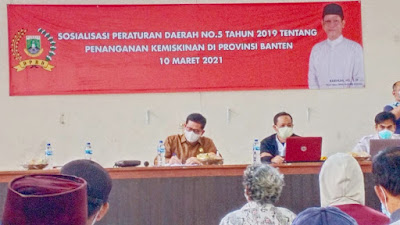 Wakil Ketua DPRD Banten Barhum HS  Sosialisasi Perda 5/2019 tentang Penanganan Kemiskinan