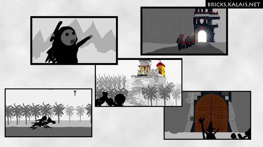 4. Storyboard elements for Brick's Treasure movies.