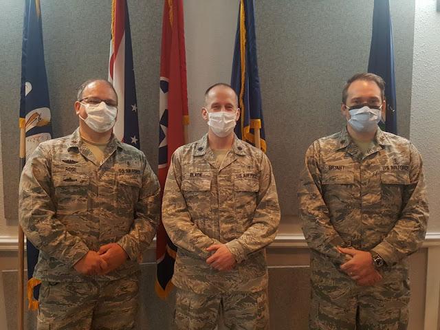 Newest USU MS Degree in Oral Biology recipients from the Keesler AFB Endodontics Residency (Right to Left) - Major Jason Rose, graduate; Lt Col Steven Black, Program Director; Major Scott Bryant, graduate.
