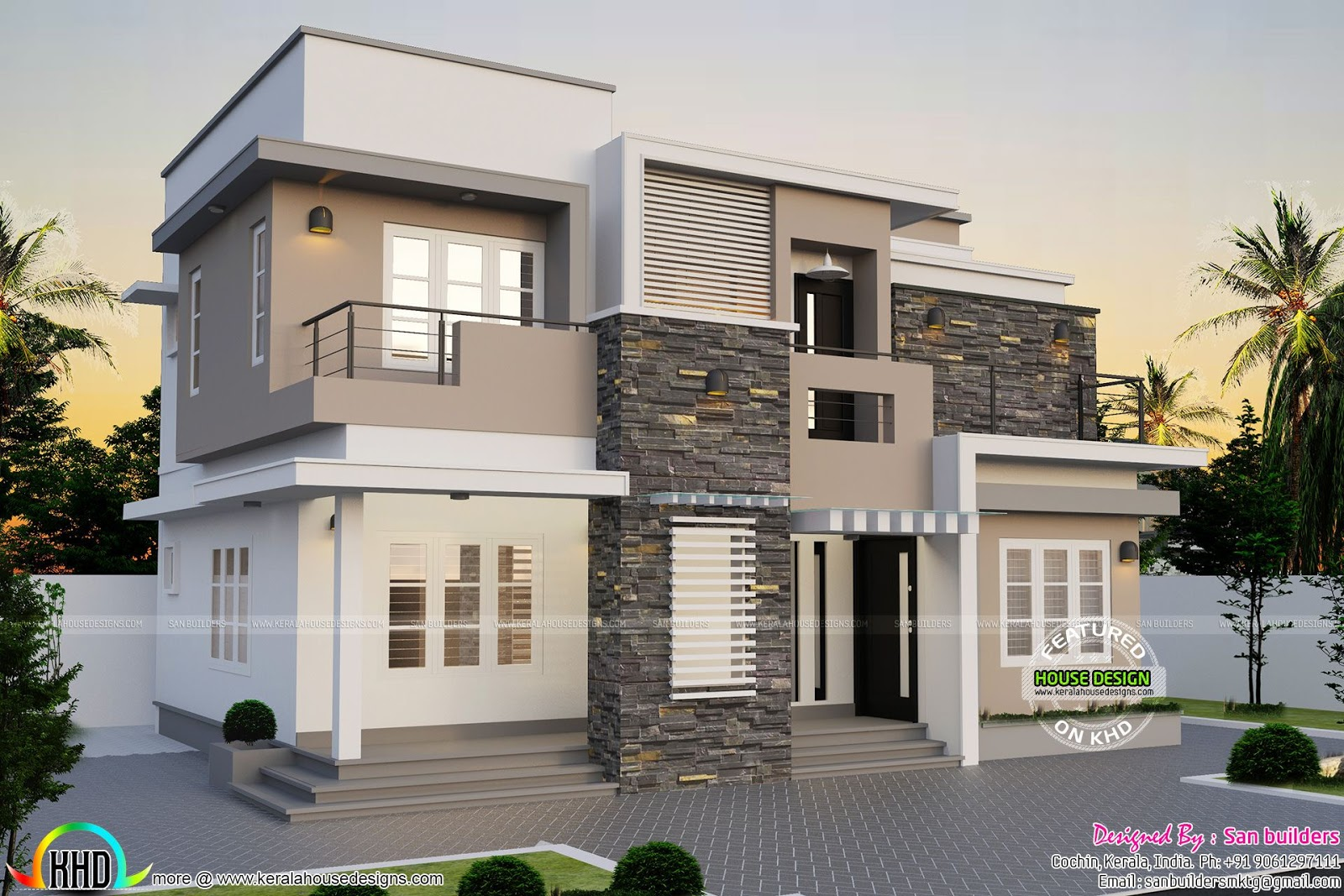 1264 square feet modern home kerala home design and for Modern square house plans