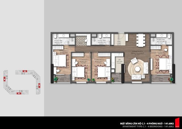 Thiết kế căn C1 diện tích 141,6m2 chung cư The Emerald