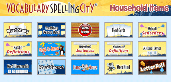 Spelling, vocabulary and writing exercises on household items