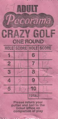 Pecorama Crazy Golf course scorecard from Nigel Lutt, September 2017