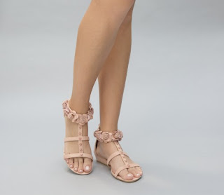 Sandale elegante roz fara toc cu model floral ieftine