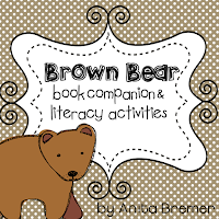 Brown Bear story activities and color word Kindergarten literacy centers