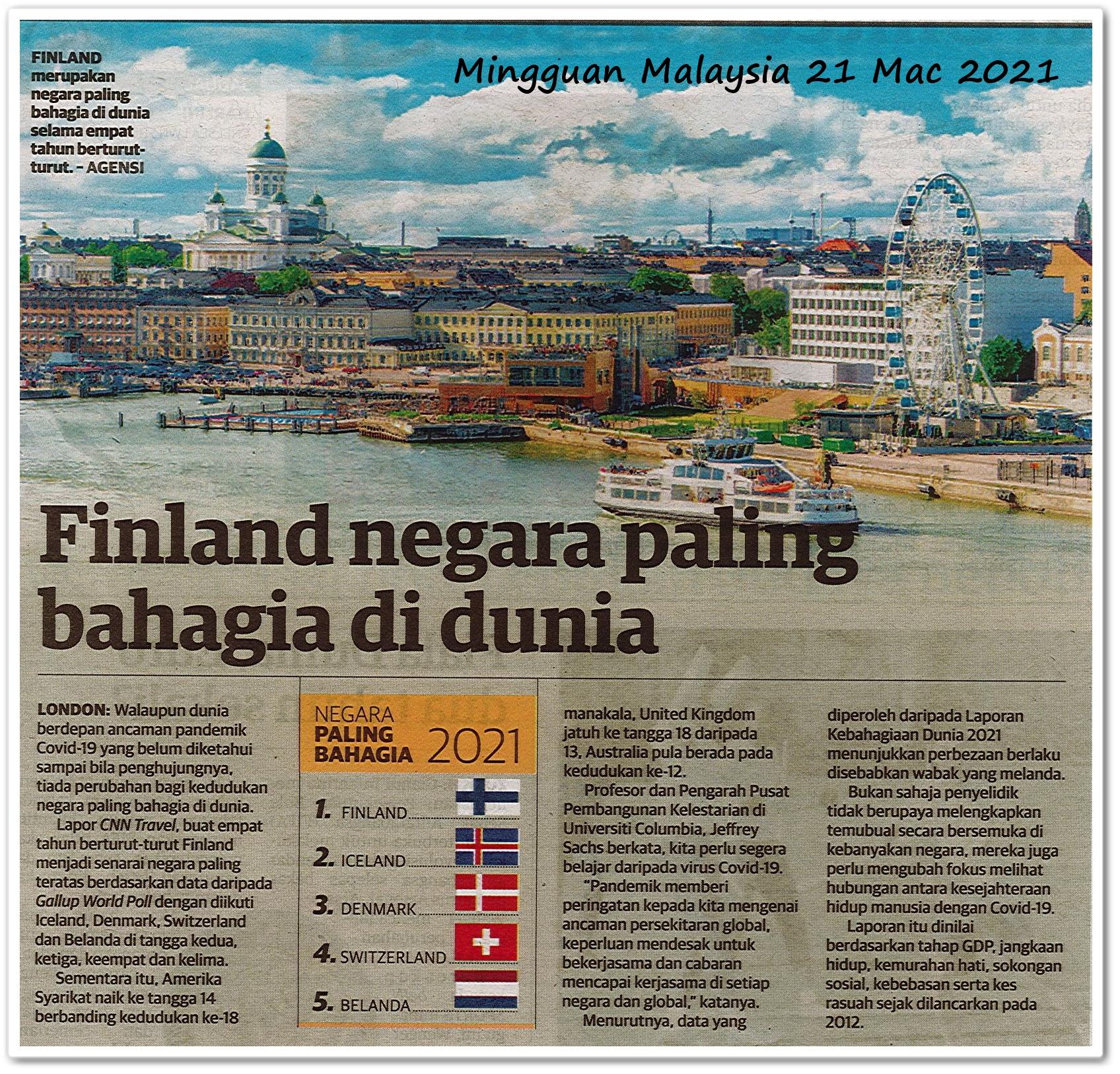 Finland negara paling bahagia di dunia - Keratan akhbar Mingguan Malaysia 21 Mac 2021