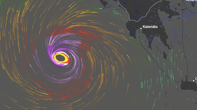 """Ενισχύεται και αποκτά χαρακτηριστικά Μεσογειακού Κυκλώνα ο """"Ιανός"""" σύμφωνα με το meteo"""
