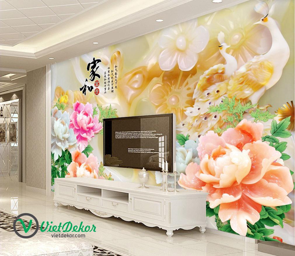 Tranh dán tường 3d hoa mẫu đơn ngọc