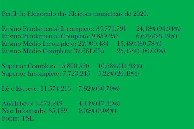A imagem de fundo verde e caracteres em azul traz o perfil educacional do Eleitorado das Eleições municipais de 2020.