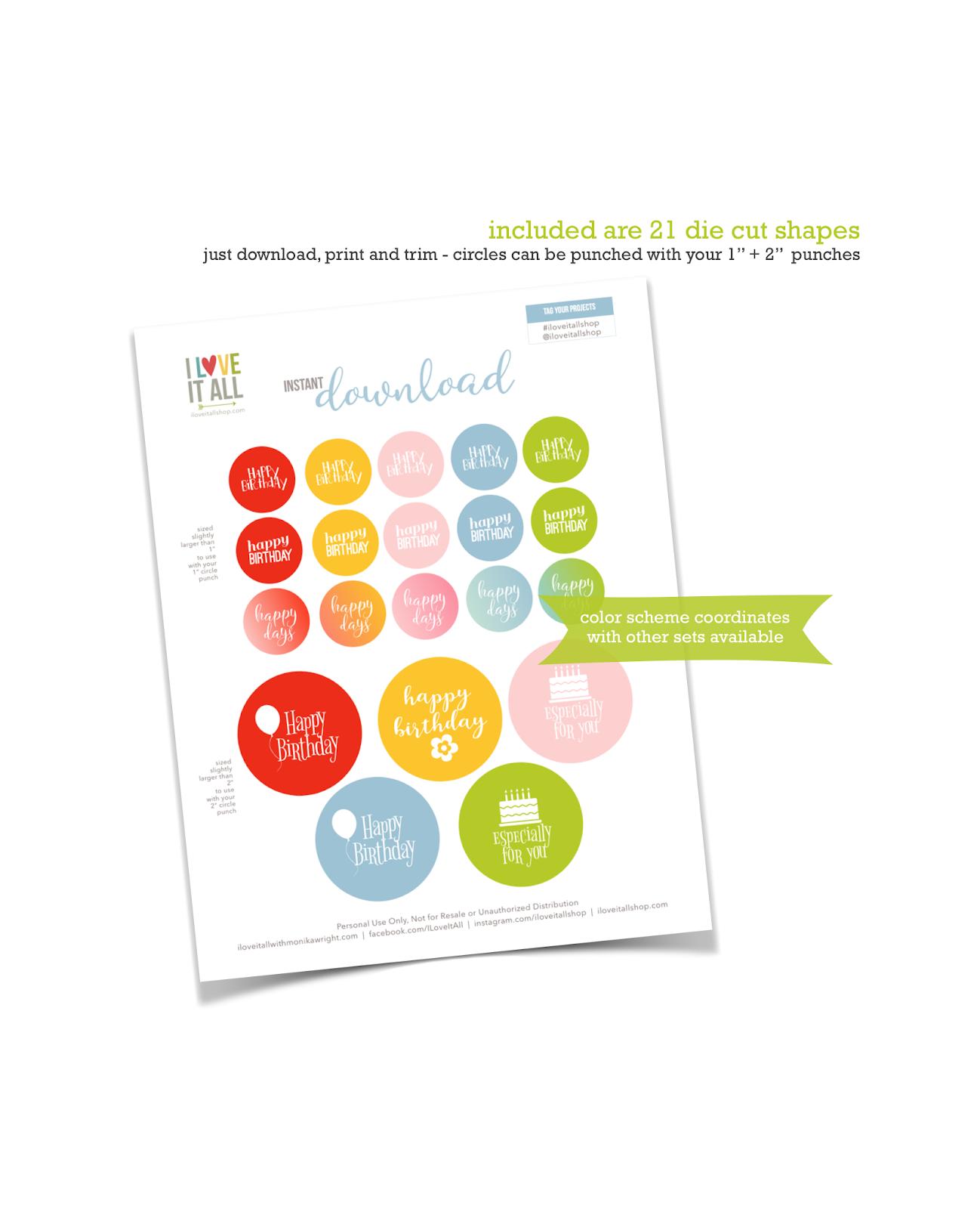 #instant download #printable #happy birthday #round tags #round die cuts #cardmaking #birthday card