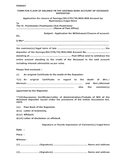 form for claim of balance in the savings bank account of deceased depositor