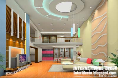 10 unique false ceiling modern designs interior living room for Pop interior design for hall