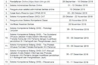 Jadwal Terbaru Pendaftaran online https://sscn.bkn.go.id/ CPNS 2018