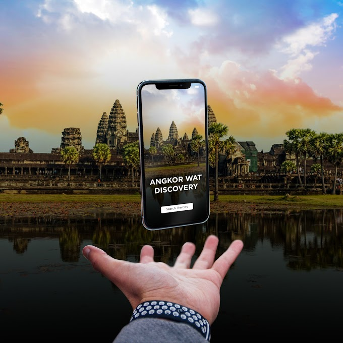 Floating iPhone X Mockup Free psd template Travel to Cambodia