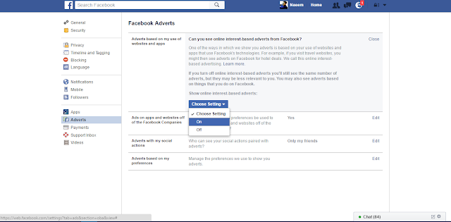 Facebook Adverts Settings Yes no