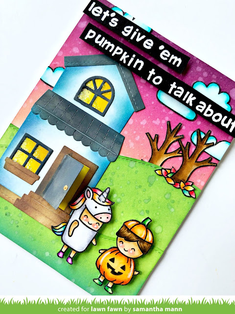 Let's Give 'em Pumpkin to Talk About Card by Samantha Mann for Lawn Fawn, Distress Inks, Ink Blending, Video, youtube, Halloween, Cards #lawnfawn #halloween #cards #inkblending #distressinks #youtube #video
