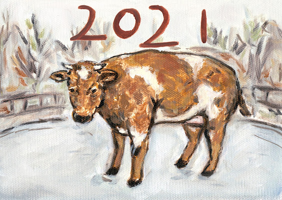 Portrait of a cow in Amstelveen, oil painting on canvas
