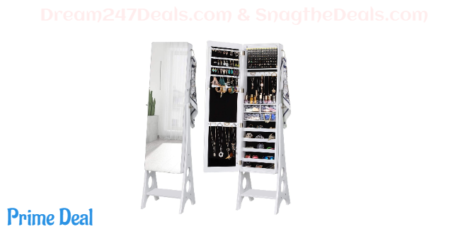 Jewelry Cabinet Armoire, Large Storage Lockable Organizer with Frameless Free Standing Dressing Mirror 22%OFF