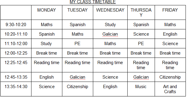 English trouble: My timetable