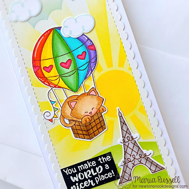 Slimline Hot Aire Ballon Card by Maria Russell   Newton Dreams of Paris Stamp Set, Thankful Thoughts Stamp Set, Slimline Die Set and various Stencils by Newton's Nook Designs #newtonsnook #handmade