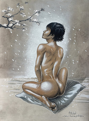 Illustration, Illustration numérique, Iacchos, dessin de nu, garçon androgyne, printemps, cerisier, fleurs, garçon nu,