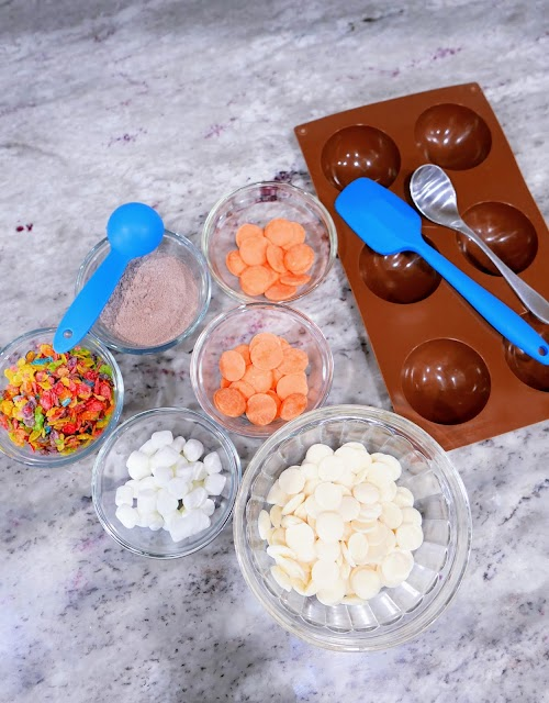 Fruity Pebbles Hot Cocoa Bombs ingredients and supplies