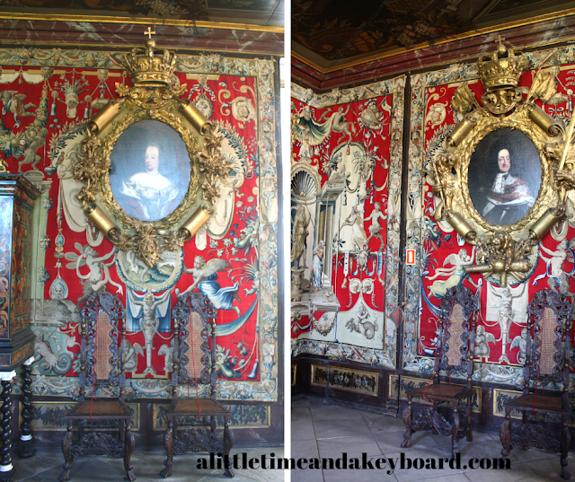 Ornate chamber impresses with portraits of King Christian V and Queen Charlotte