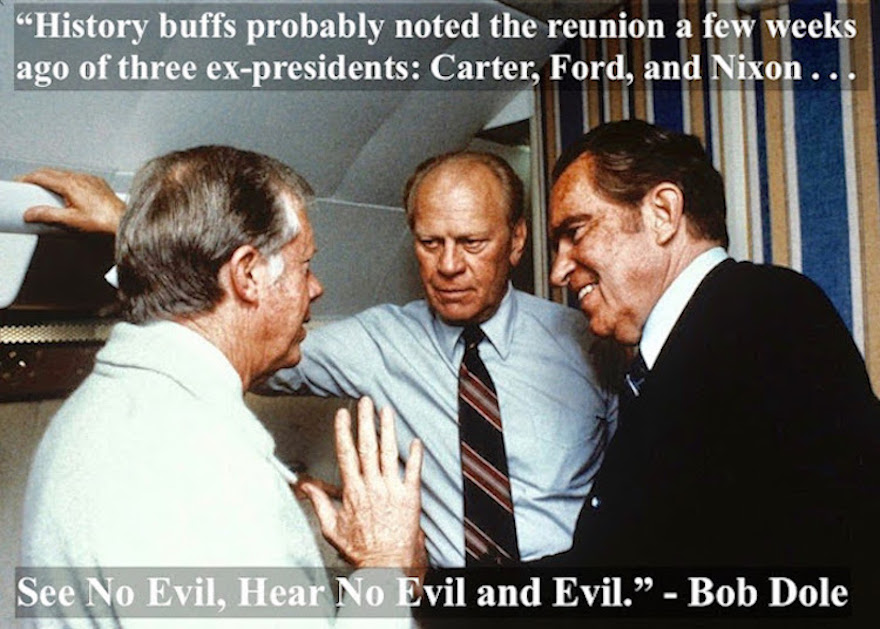 Photo of Jimmy Carter, Gerald Ford, and Richard Nixon, talking to each other on Air Force One while flying to Egypt for the funeral of Anwar Sadat. 1981. See No Evil, Hear No Evil. Stories about Richard Nixon and other liar pants politicians. marchmatron.com
