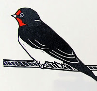 Swallow sitting on telephone wire linocut