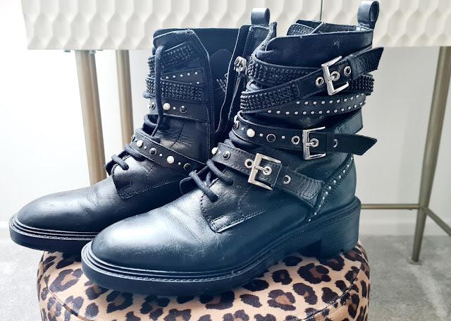 Zara chunky combat boots pearl studded