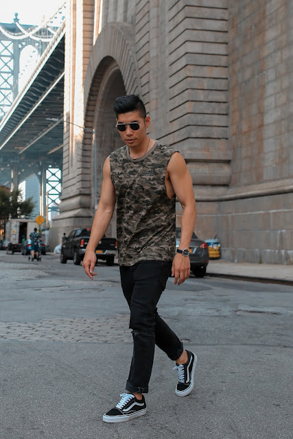 Leo Chan, Levitate Style, wearing Camo Shirt and Black Jeans in NYC | Asian Model, Asian Blogger