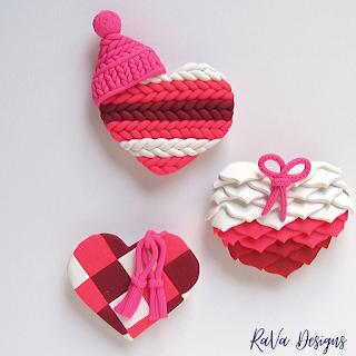 oven bake clay art ideas heart magnet sweater ruffles quilt textures