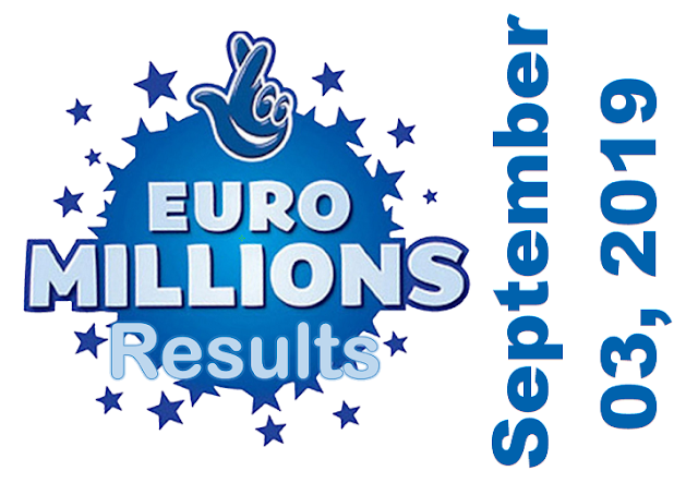 EuroMillions Results for Tuesday,  September 03, 2019