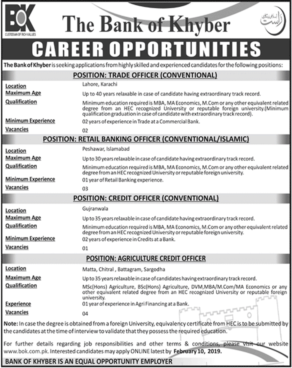 Jobs Vacancies In The Bank Of Khyber 27 January 2019