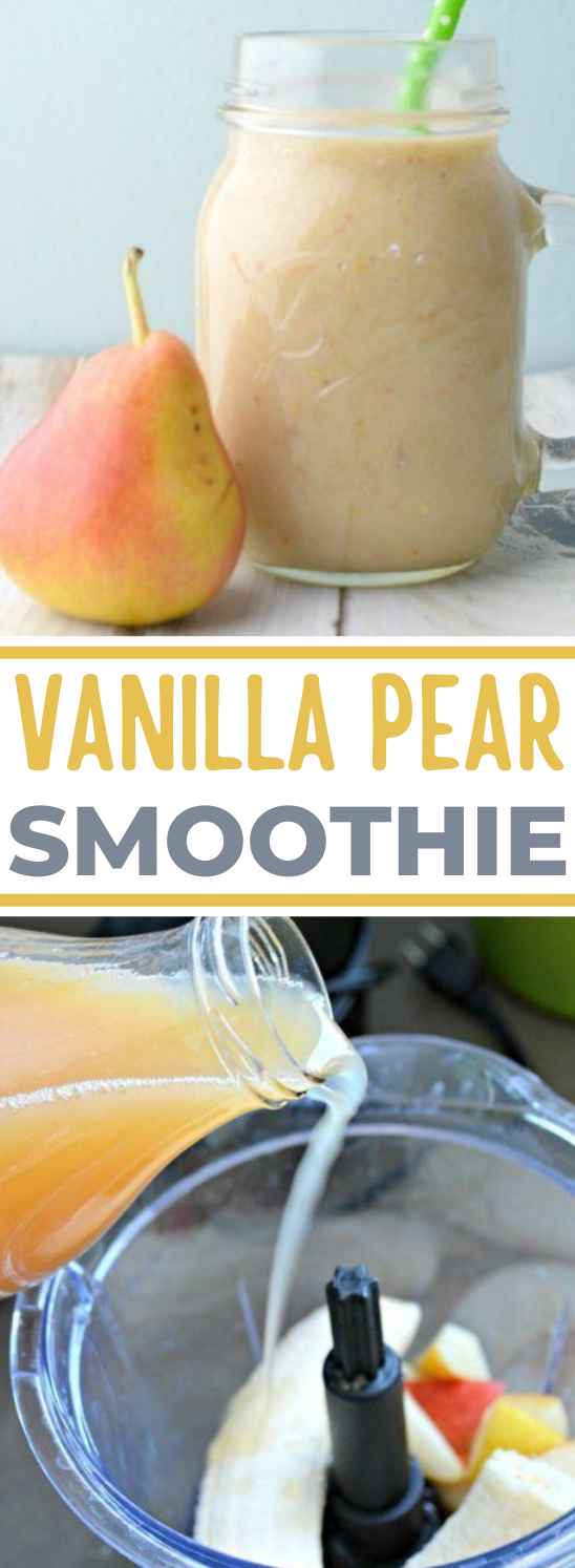 Quick and Simple Vanilla Pear Smoothie Recipe #healthy #drink #breakfast #smoothie #highprotein
