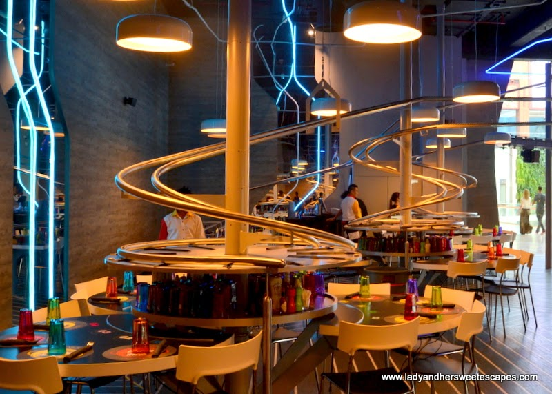 roller coaster system in a restaurant