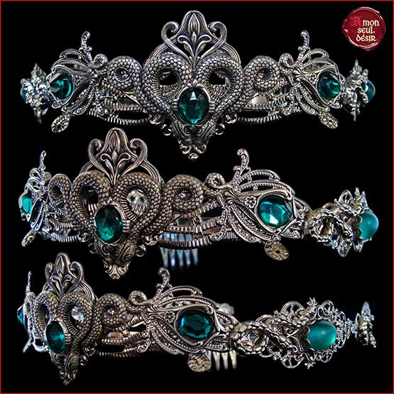 couronne serpent vert emeraude reine medievale renaissance dame Melusine Serpentard