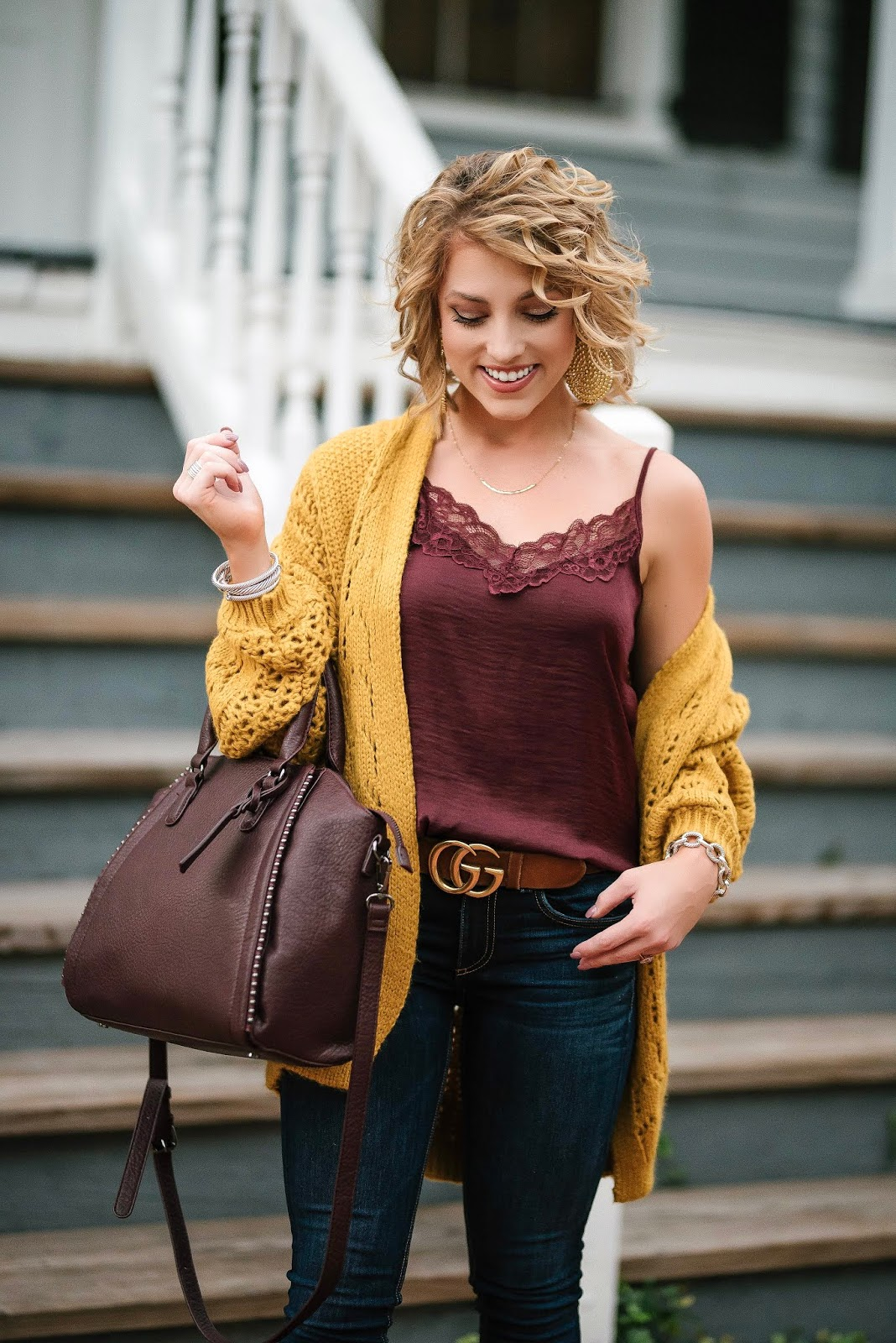 Under $60 Mustard Cardigan + Under $25 Burgundy Cami - Something Delightful Blog