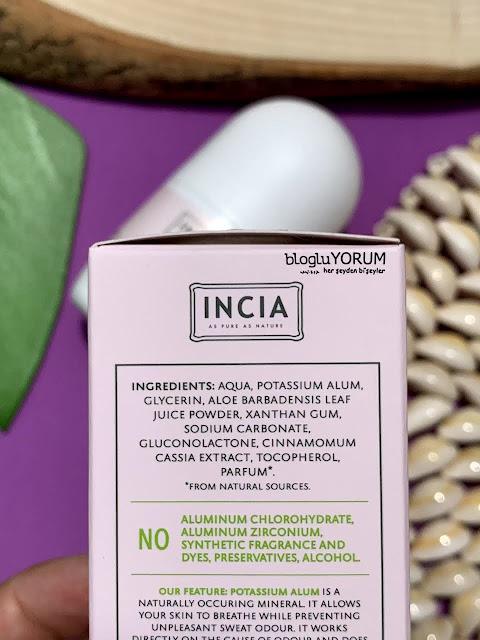INCIA Doğal Hassas Ciltler İçin Roll-On Deodorant içerik