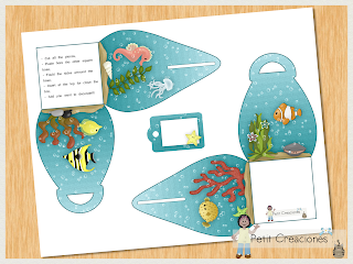 "PRINTABLE Curvy keepsake gift BOX ""Undersea World"" DIY (digital template) gift idea, favor box for party"