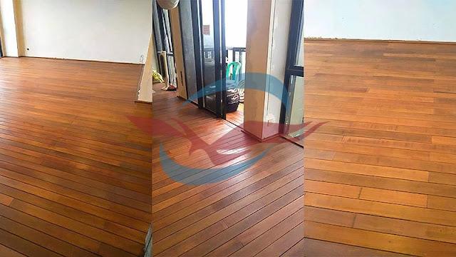 proyek pemasangan decking kayu bengkirai polos