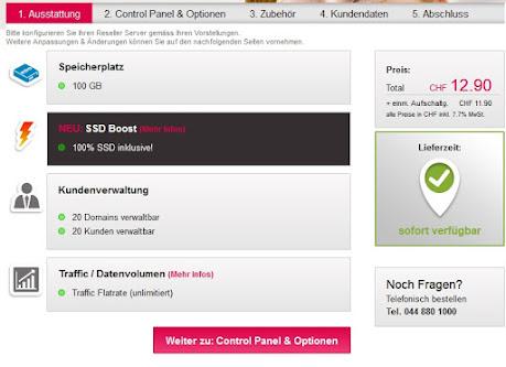 Ein Screenshot, welcher den Reseller Server Konfigurator zum Webhosting Angebot zeigt.