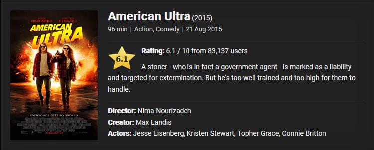 American Ultra (2015) Download Full Movie Dual Audio {Hindi-English} 480p [300MB]    720p [1GB]    1080p [2.7GB]